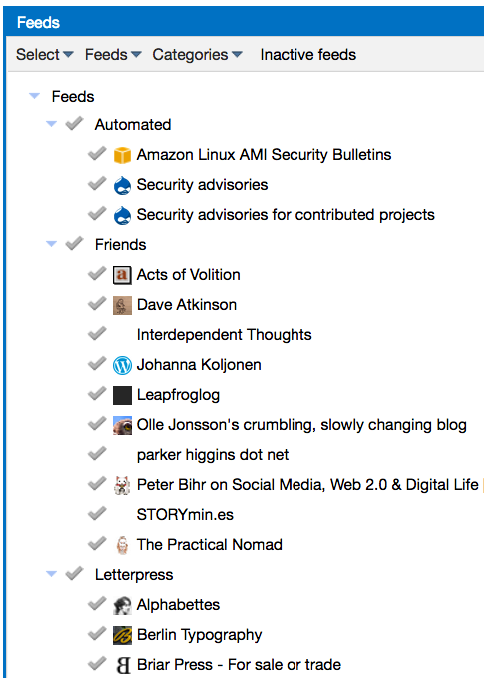 Screen shot of detail of the admin settings of Tiny Tiny RSS, my RSS reader