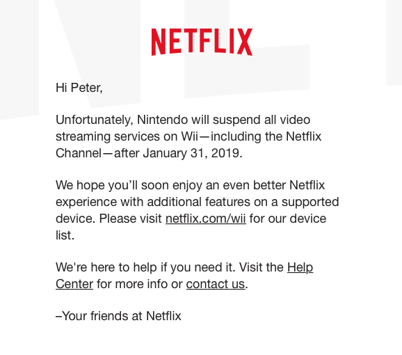 Screen shot of email from Netflix