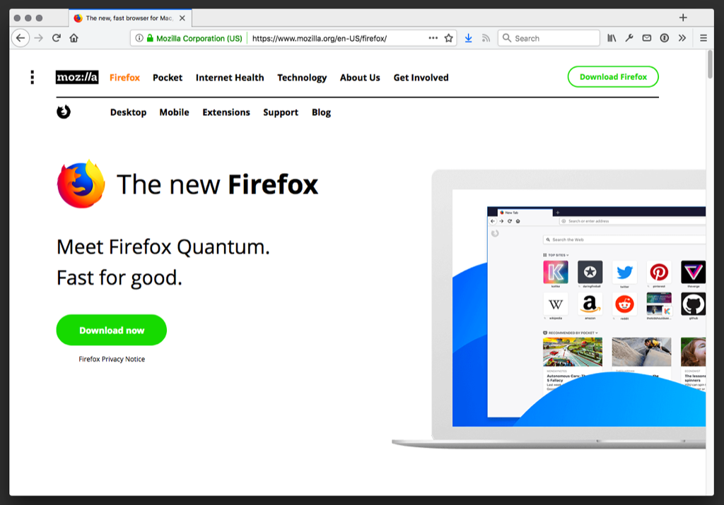 Screen shot of Mozilla website showing Firefox Quantum