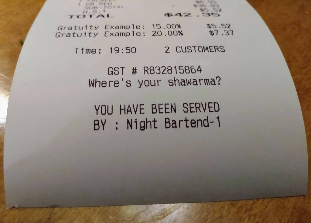 Receipt from Baba's