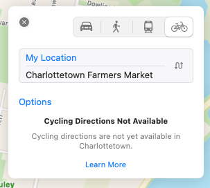 "Detail from Apple Maps screen shot showing error message ""Cycling Directions Not Available""."
