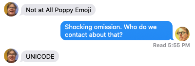 Screen shot from Messages app showing a conversation with Oliver about the poppy emoji