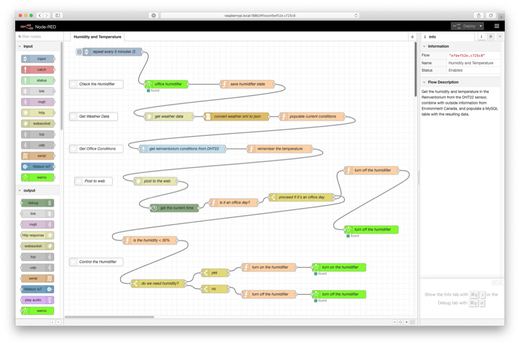 Screen shot of Node-RED Flow for triggering my humidifier