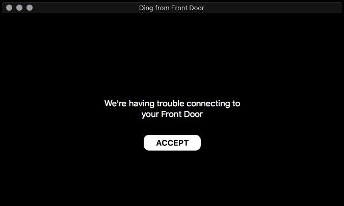 Error message from Ring Doorbell app