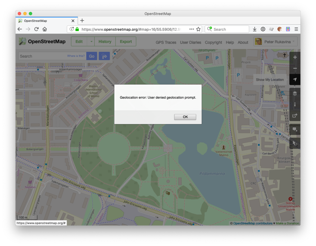 OpenStreetMap screen shot showing geolocaiton error dialog
