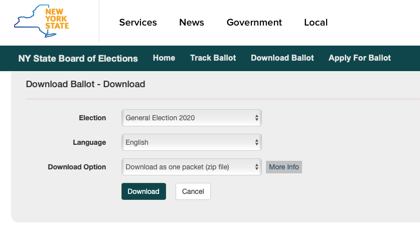 Screen shot of New York State ballot downloading page for the 2020 election.
