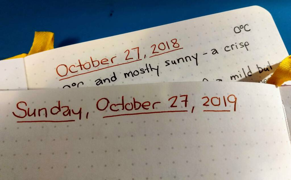 Diary pages from October 27, 2018 and 2019.