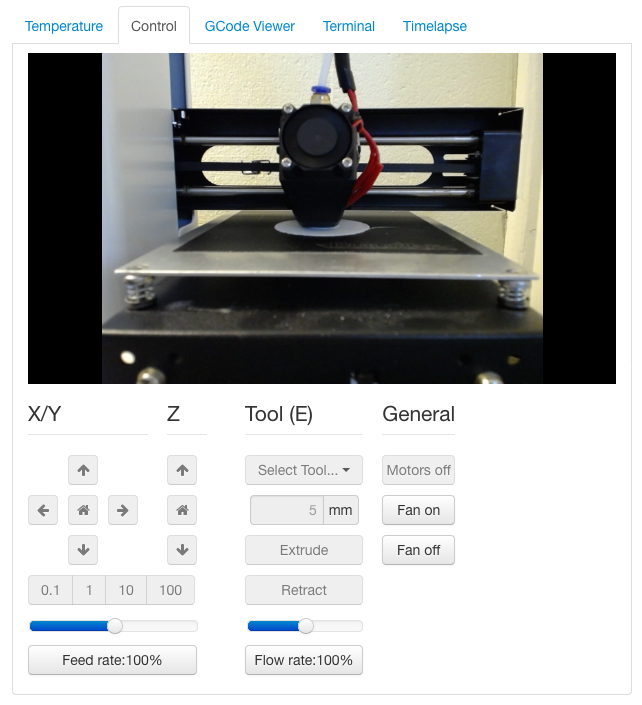 Screen shot of the Control tab in OctoPrint.