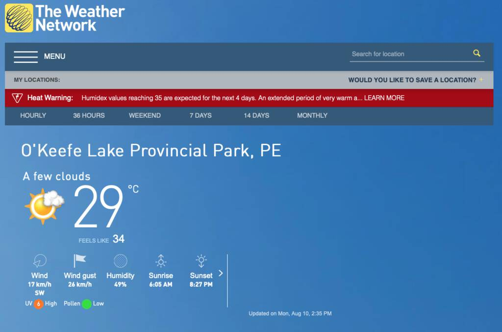 Screen shot from The Weather Network showing weather for O'Keefe Lake.