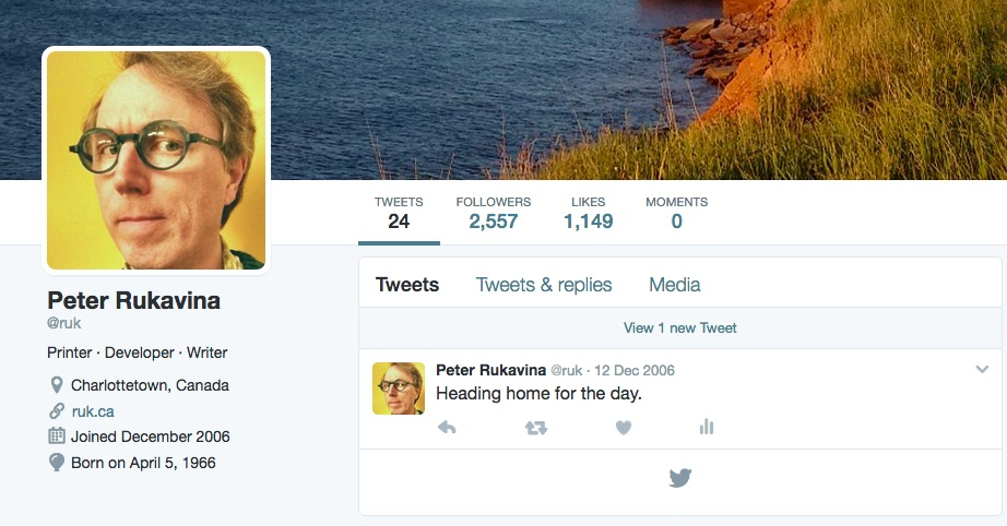 Screen shot of my Twitter profile page showing a single remaining Tweet