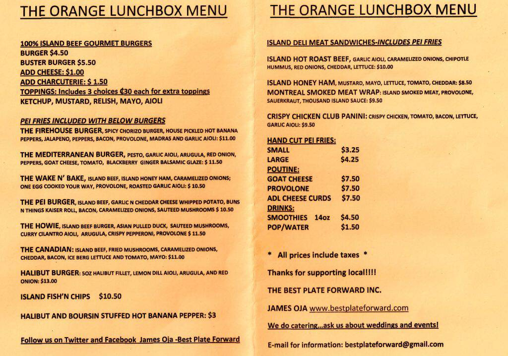 Menu from The Orange Lunchbox, June 2012
