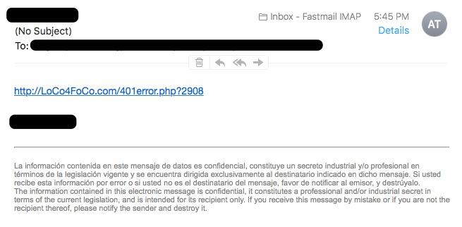 Yahoo Spam Example