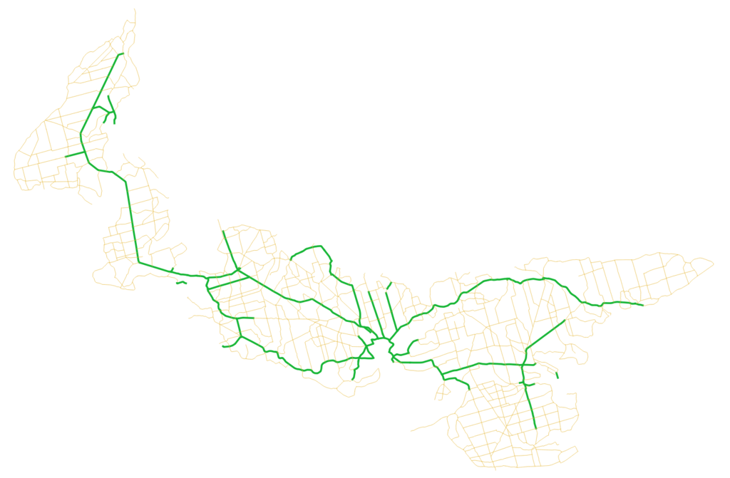 PEI roads with an average daily traffic count of 2,000 or more vehicles per day
