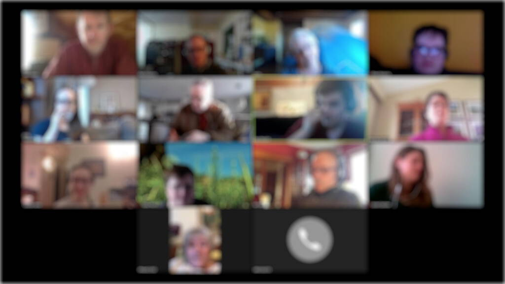 Blurred photo of Zoom meeting