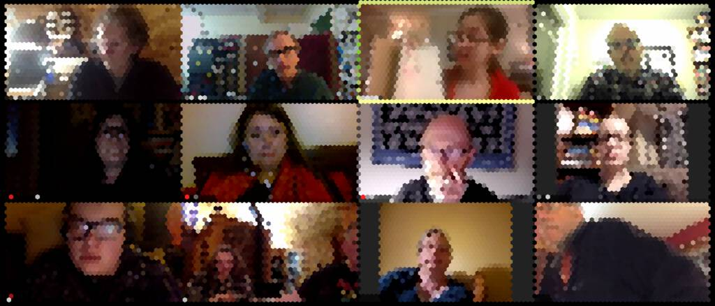 Pixelated rendering of our Pen Night Zoom meeting