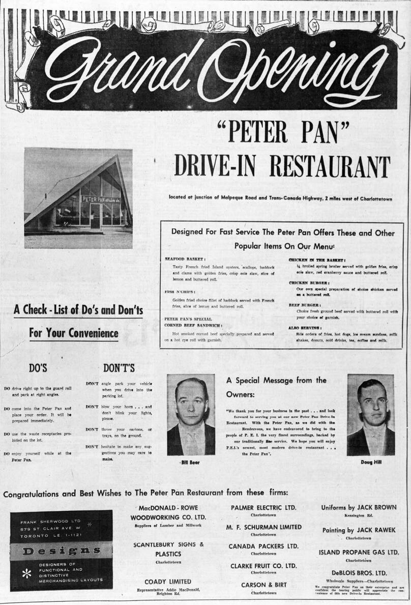 Ad from The Guardian, June 26, 1958, announcing the Grand Opening of Peter Pan