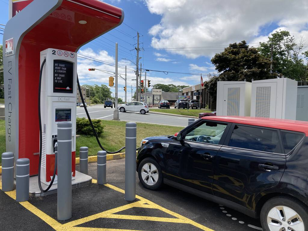 Our Kia Soul EV plugged into the Petro-Can charger in Halifax.
