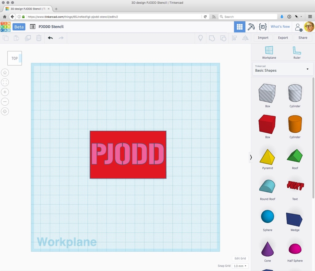 PJODD imported into Tinkercad