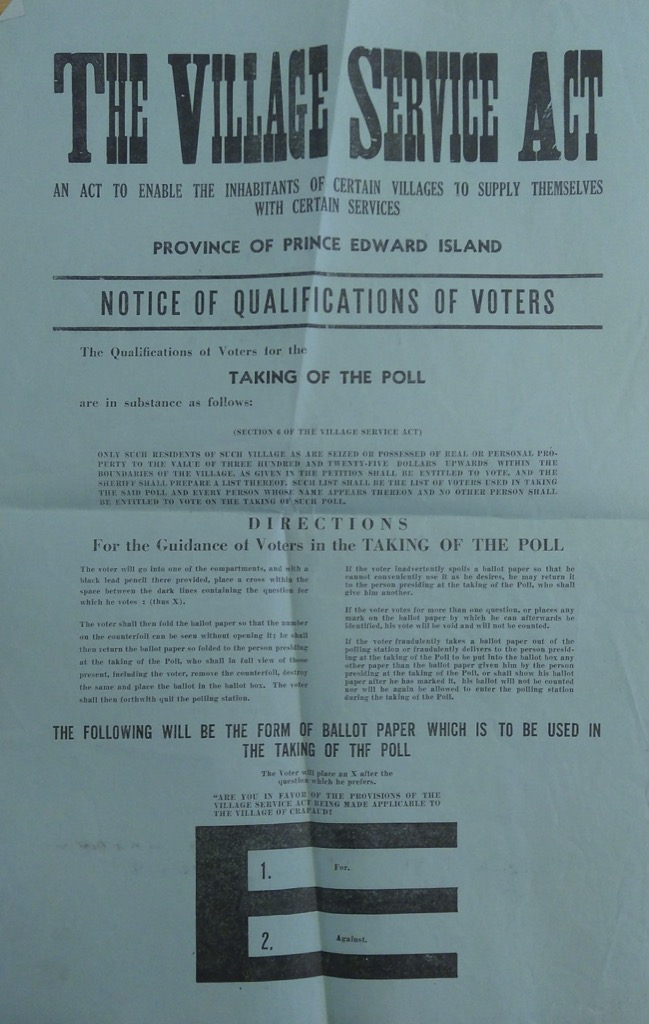 Broadside advertising the Crapaud plebiscite