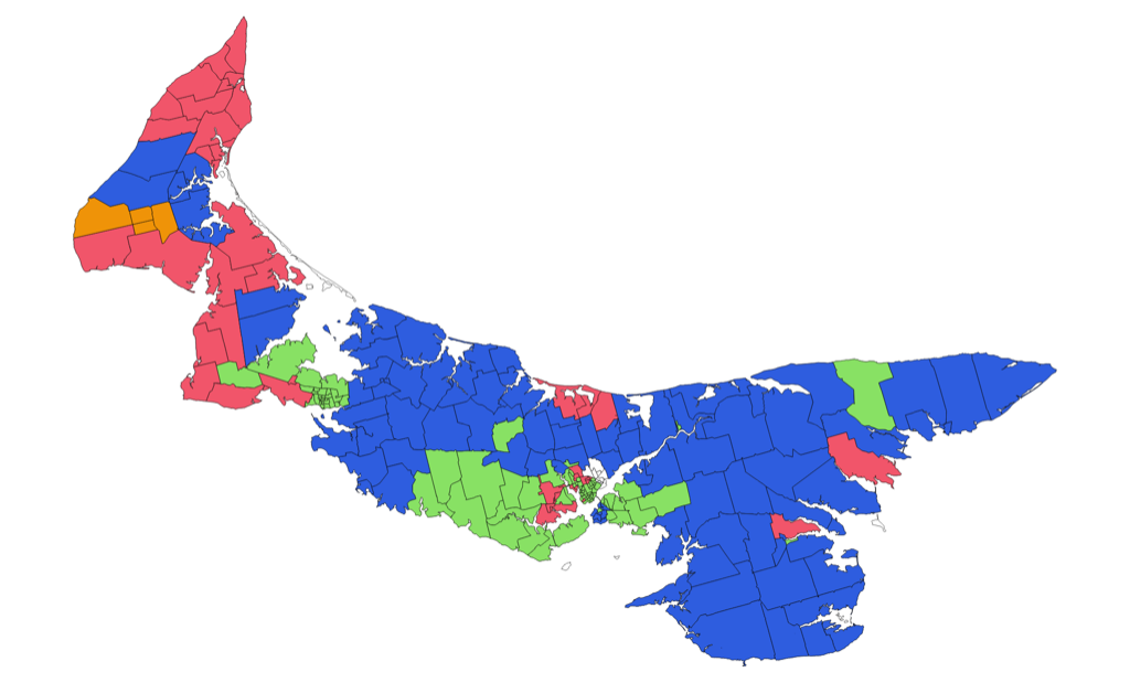 Visualization of the winners of every poll in the April 23, 2019 provincial general election
