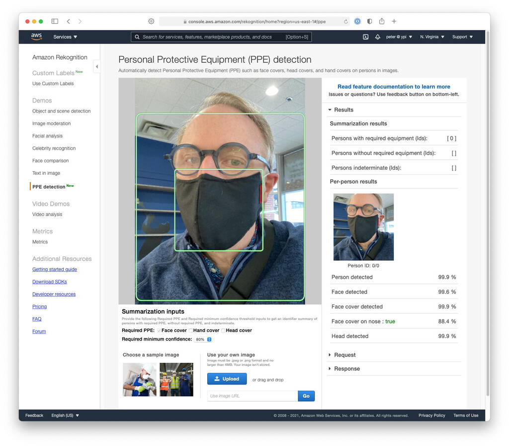 Screen shot from Amazon Personal Protective Equipment (PPE) detection console showing analysis of a photo of me wearing a mask, and confirming its detection.