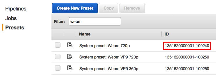 Screen shot of Preset ID value in AWS