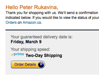 Amazon confirmation showing tomorrow as delivery date