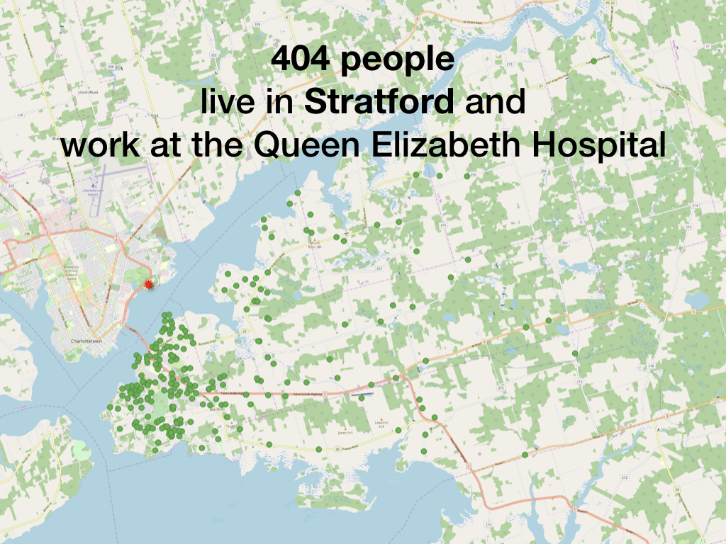 404 people  live in Stratford and work at the Queen Elizabeth Hospital