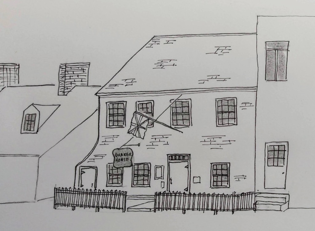 Sketch of Quaker House in Dartmouth
