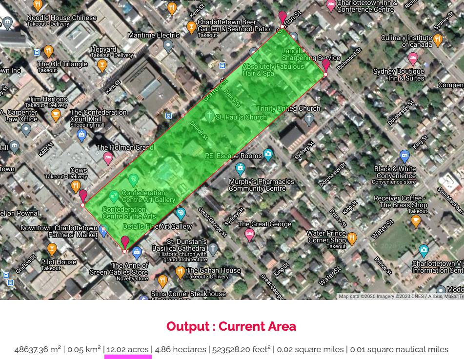 Size of Queen Square measure on Google Maps: 12 acres.
