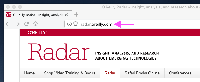 Screen shot of O'Reilly Radar website