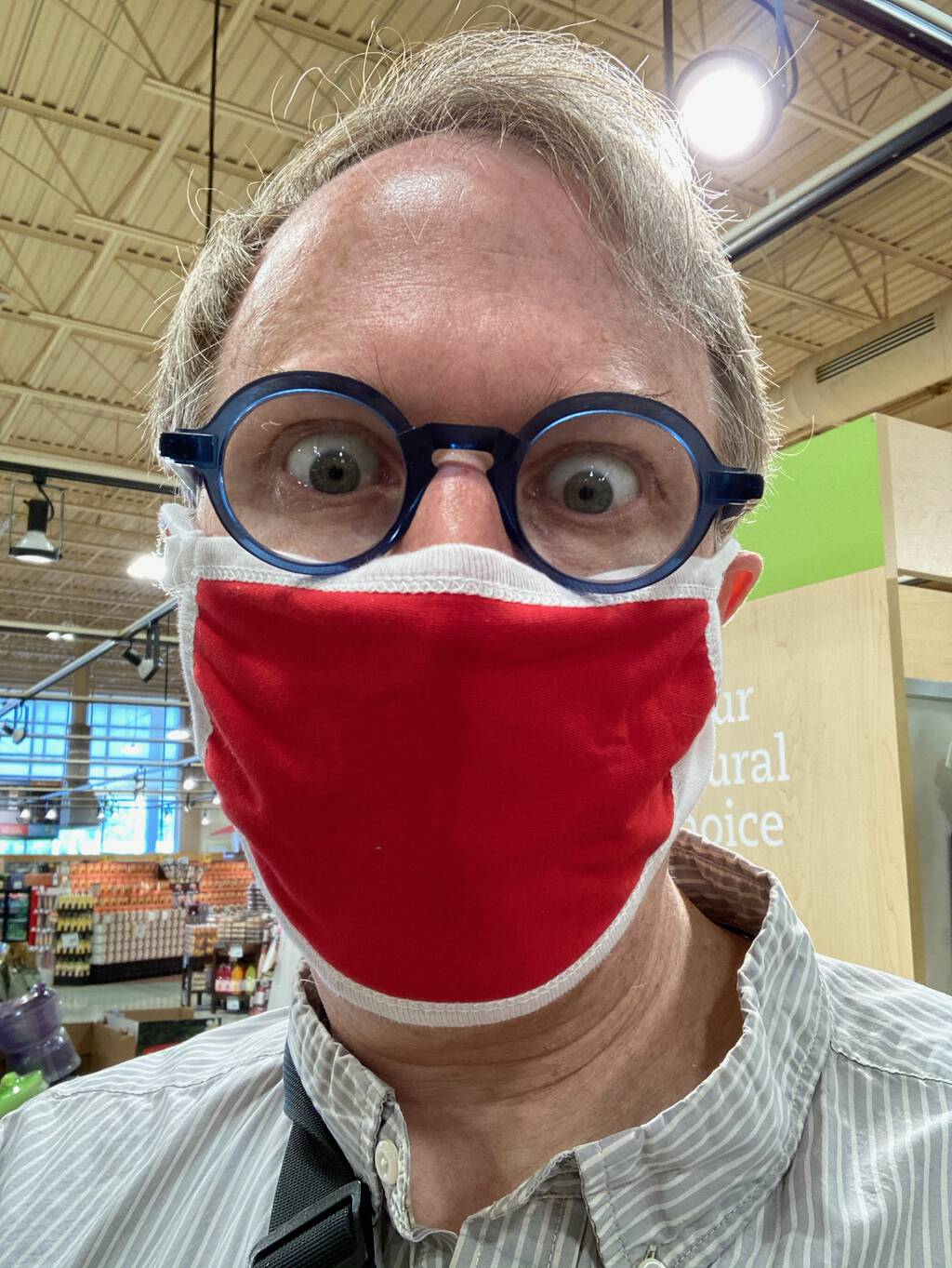 Photo of me wearing a red face mask, inside Sobeys.
