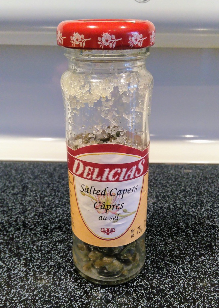 Photo of bottle of salted capers