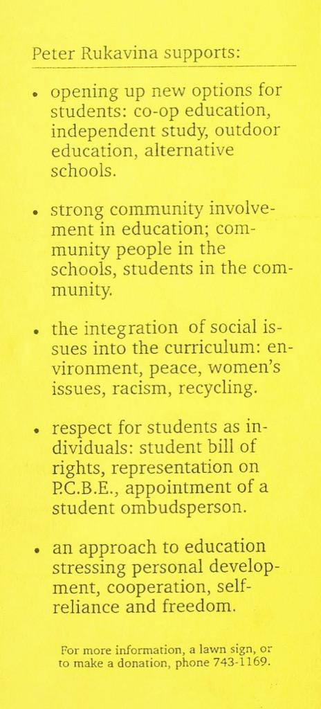 My school board election platform
