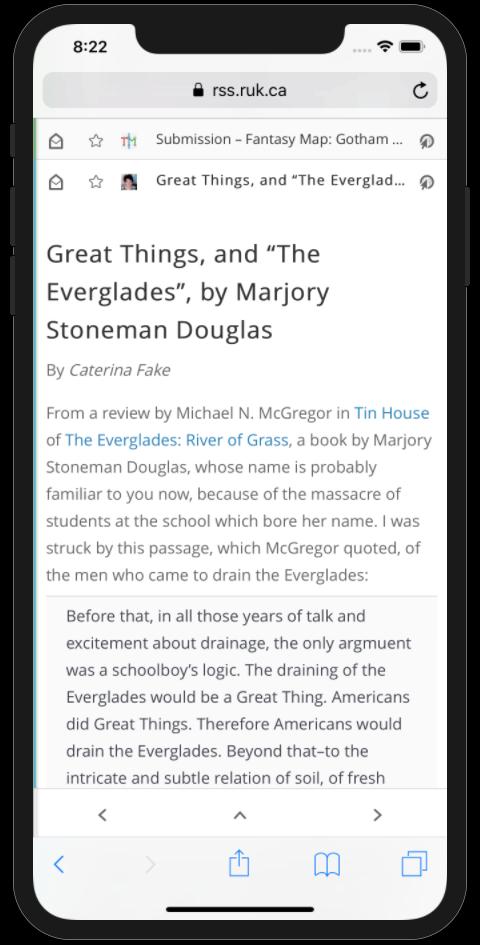 Fresh RSS in an iPhone screen shot