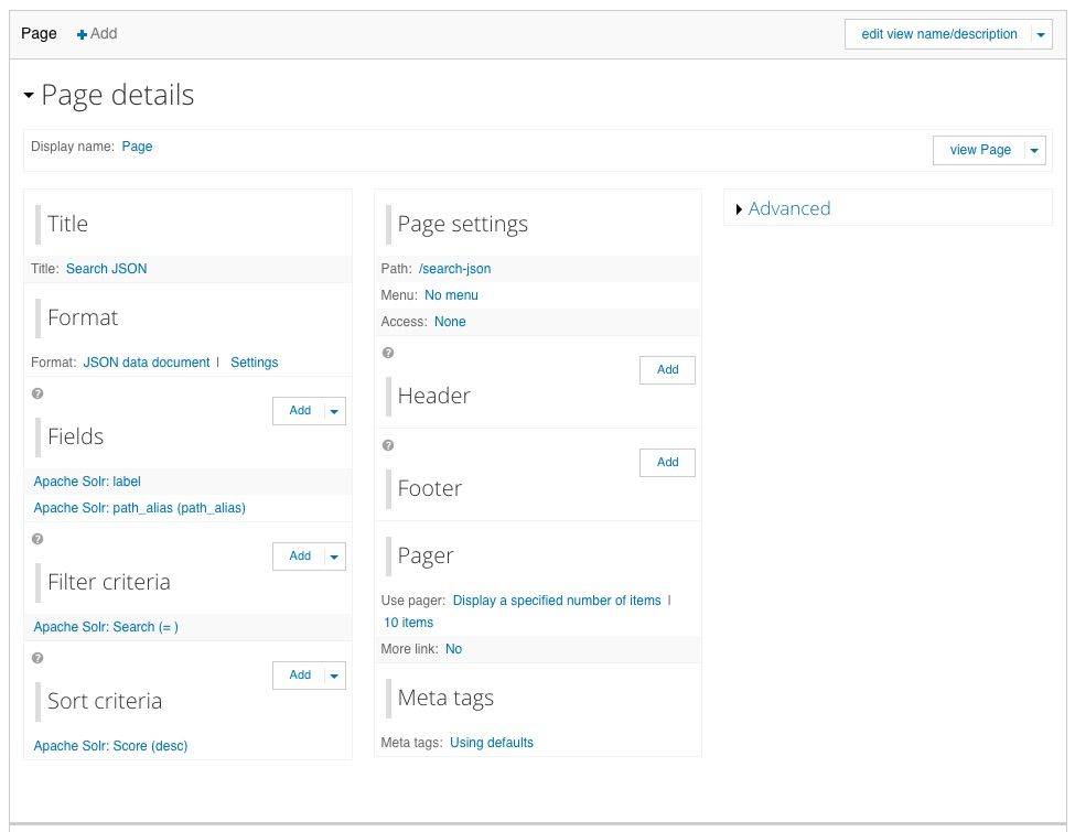 Screen shot of the Search JSON Drupal View
