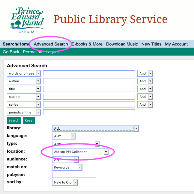 Screen shot of Public Library Service search for autism materials.