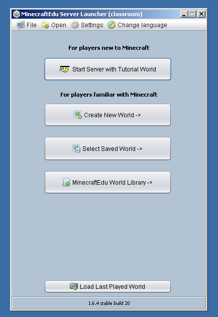The MinecraftEdu Server Launcher