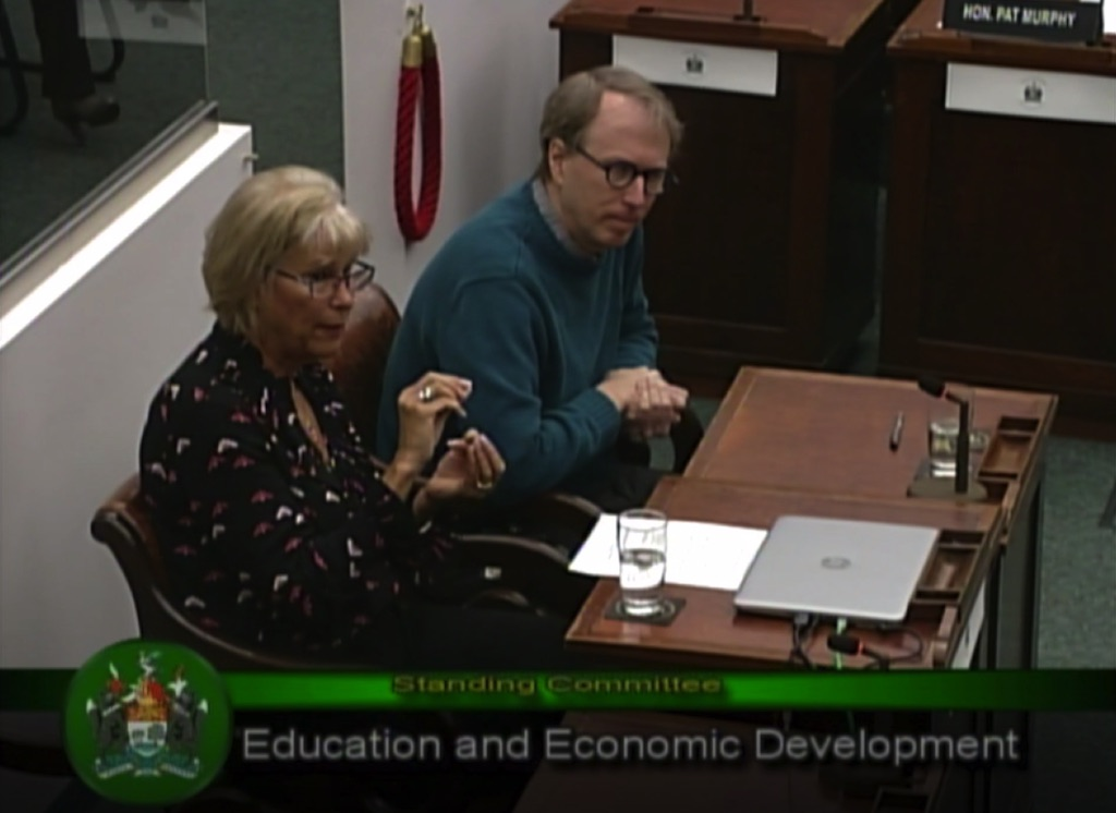 Carolyn Bateman and me, providing testimony to the Standing Committee