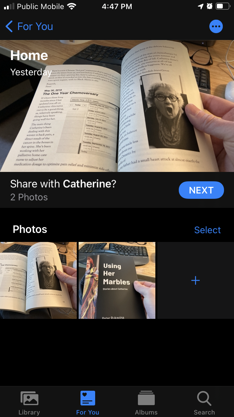 Screen shot of my iPhone, showing an image of Catherine inside a book, suggesting that I share it with Catherine.