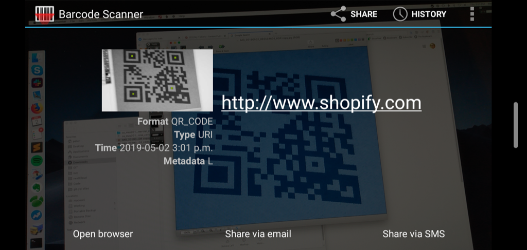 Scanning QR Code to decode shopify.com