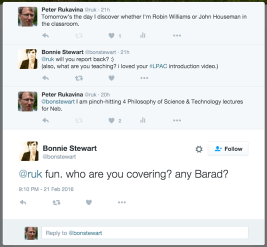 Screen shot of Twitter exchange with Bonnie Stewart.