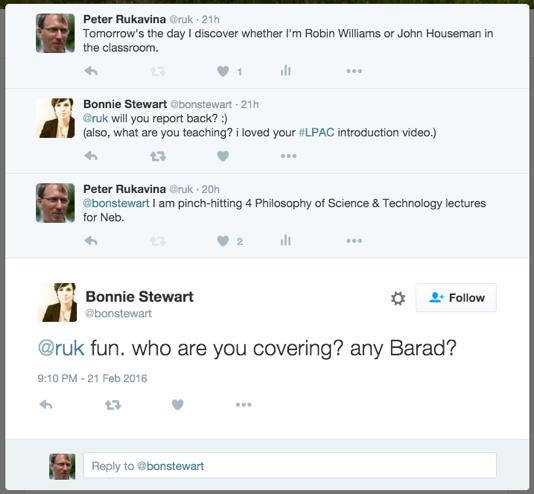 Screen shot of Twitter exchange with Bonnie Stewart.