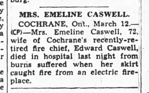 Emeline Caswell Death Notice