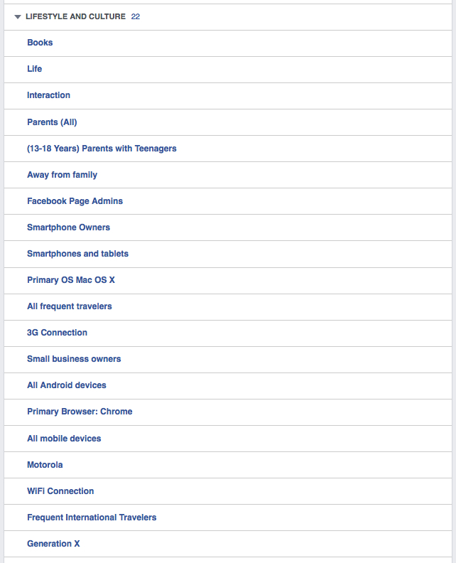 "My Facebook ""Lifestyle and Culture"" Ad Preferences"