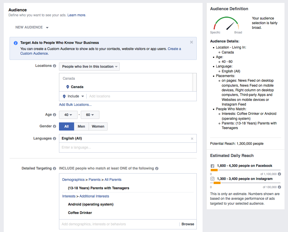Facebook Ads Manager screen shot