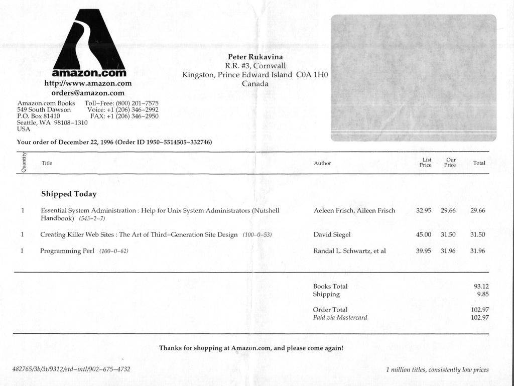 1996 Amazon.com Receipt