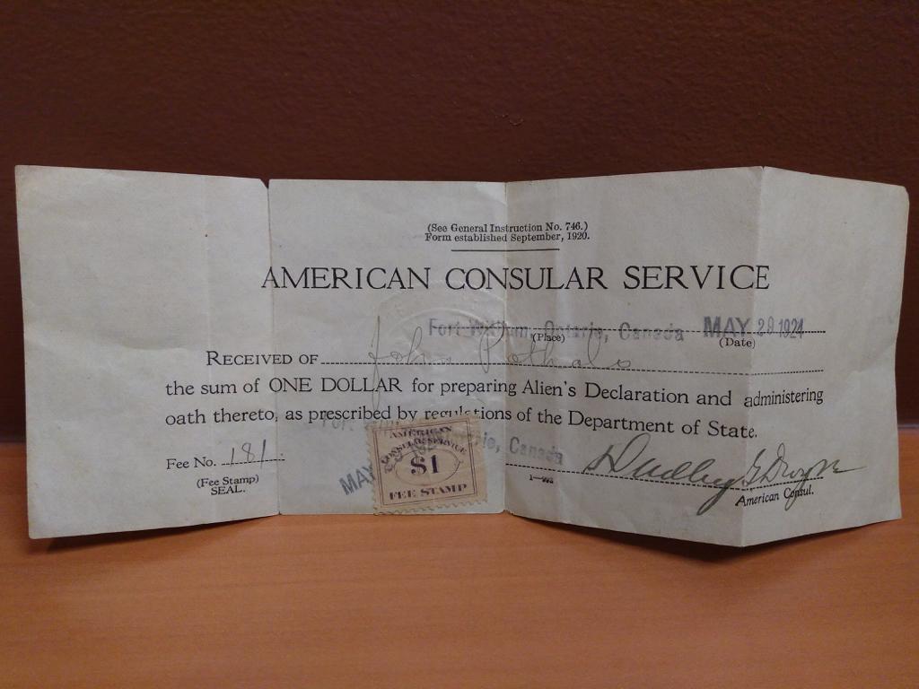 American Consular Service Receipt, 1924