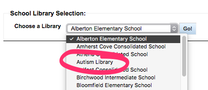 School Library Portal for PEI -- school collection selection