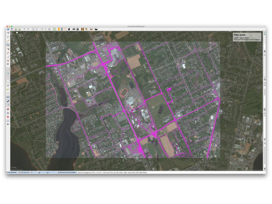 OpenStreetMap Geotraces + Bing Satellite